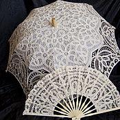 Свадебный салон ручной работы. Ярмарка Мастеров - ручная работа Комплект зонт+веер(айвори). Handmade.
