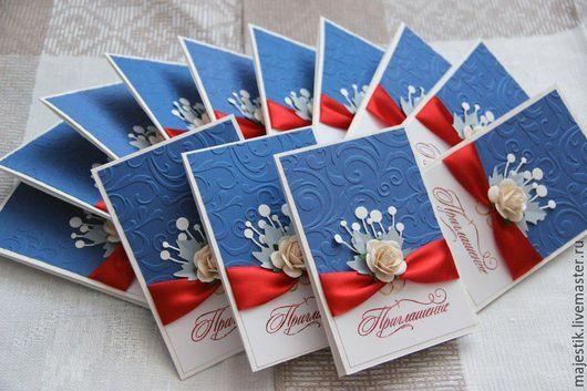 """Свадебные аксессуары ручной работы. Ярмарка Мастеров - ручная работа. Купить Свадебные приглашения """"Синий+красный"""". Handmade. Синий, свадебные приглашения"""