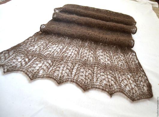 """Шали, палантины ручной работы. Ярмарка Мастеров - ручная работа. Купить Палантин вязаный, """"Темный павлин"""", , шарф ажурный  заказать. Handmade."""