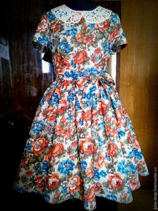 """Платья ручной работы. Ярмарка Мастеров - ручная работа. Купить Нарядное льняное платье с пышной юбкой """" Розы"""".. Handmade."""