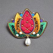 Украшения handmade. Livemaster - original item Brooch LOTUS beads, sequins, silk, straw, pearls. Handmade.