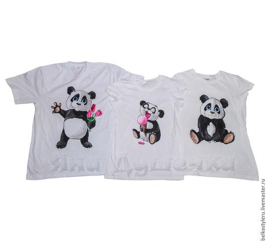 """Футболки, майки ручной работы. Ярмарка Мастеров - ручная работа. Купить Семейный комплект футболок для троих с росписью """"Панды"""". Family look.. Handmade."""