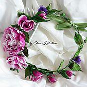 """Украшения ручной работы. Ярмарка Мастеров - ручная работа Шелковый венок с розами """"Райский  сад"""" Цветы из шелка. Handmade."""