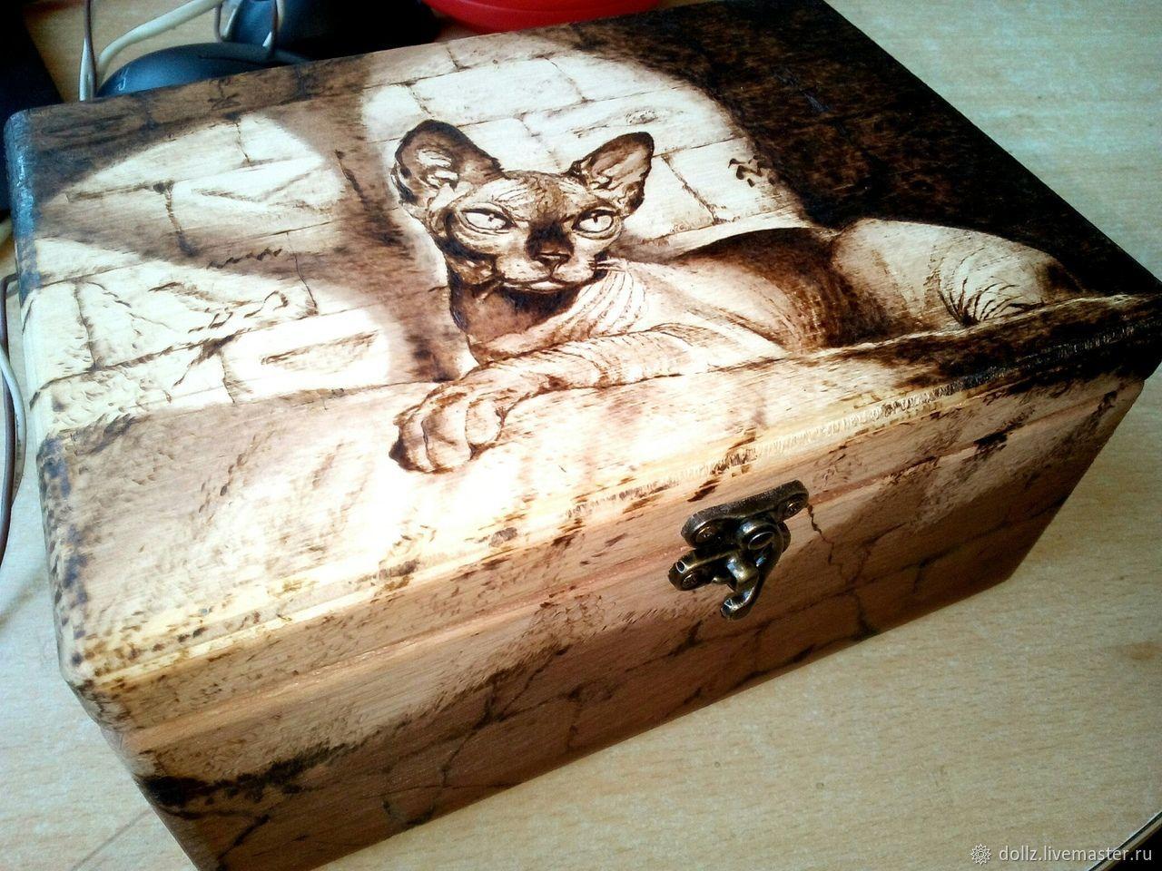 Шкатулка кот Сфинкс пирография(выжигание), Шкатулки, Ярославль,  Фото №1