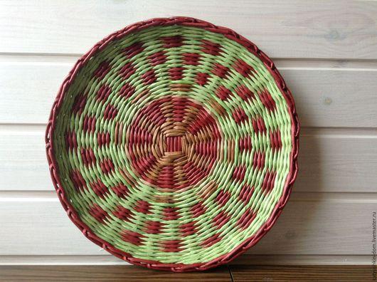 Кухня ручной работы. Ярмарка Мастеров - ручная работа. Купить Плетеная тарелка 30см. Handmade. Зеленый, салатовый, плетение из газет