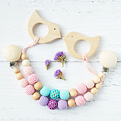 Одежда handmade. Livemaster - original item Teether-teething toy with a bird on the holder. Handmade.