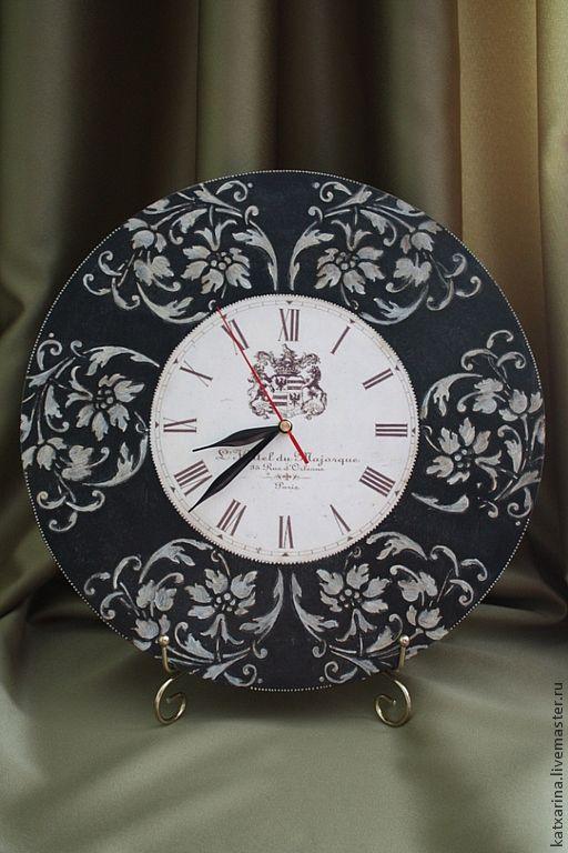 """Часы для дома ручной работы. Ярмарка Мастеров - ручная работа. Купить Часы """"Белое на черном"""". Handmade. Черный, часы декупаж"""