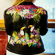 Одежда handmade. Livemaster - original item Toucans print leather jacket. painted clothing. Painting on the skin. Handmade.