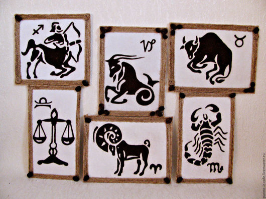 """Символизм ручной работы. Ярмарка Мастеров - ручная работа. Купить Картина панно из молотого кофе """"Знаки зодиака"""". Handmade. Комбинированный"""