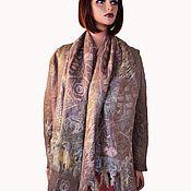 Одежда handmade. Livemaster - original item A set of warm wool: Felted beige cadigan jacket and stole. Handmade.