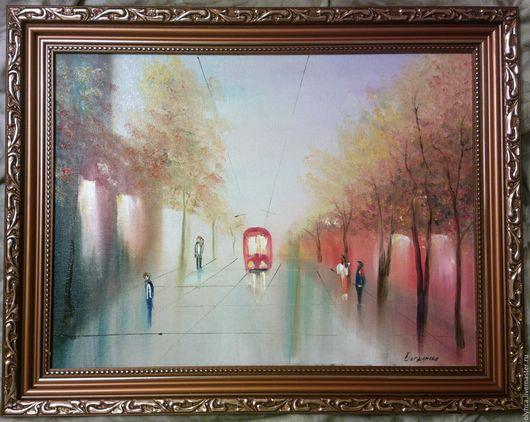 Город ручной работы. Ярмарка Мастеров - ручная работа. Купить городской трамвайчик в раме. Handmade. Желтый, картина для интерьера
