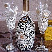Свадебный салон ручной работы. Ярмарка Мастеров - ручная работа Свадебные бокалы и шампанское. Handmade.