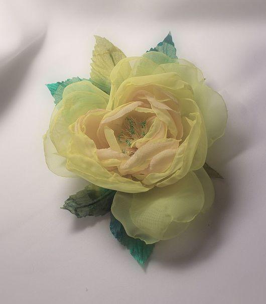 """Броши ручной работы. Ярмарка Мастеров - ручная работа. Купить Роза-брошь """"Лимон"""". Handmade. Роза-брошь, лимонный"""