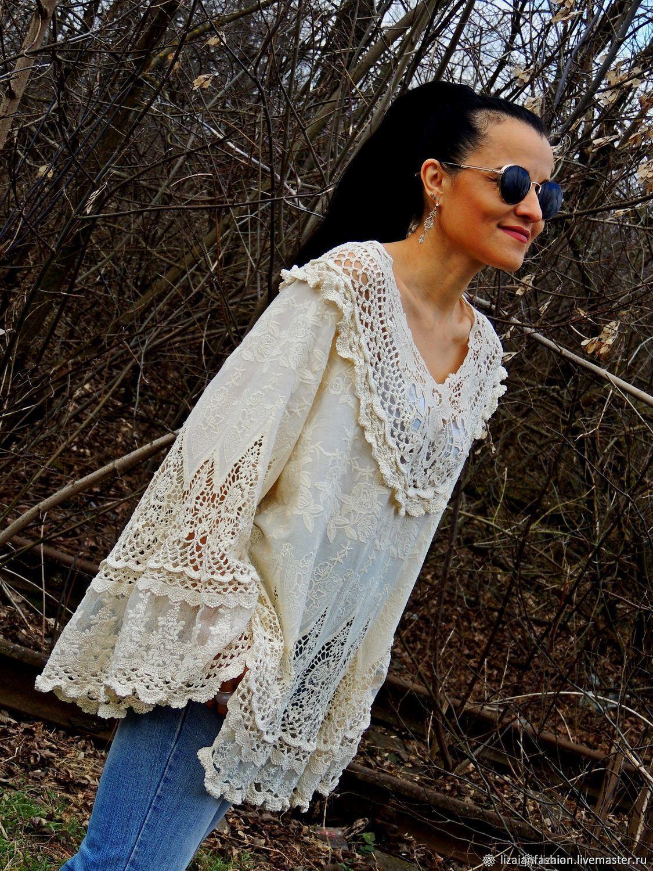 Блузка-туника в стиле БОХО. Блузка с кружевом (314-1), Блузки, Одесса,  Фото №1
