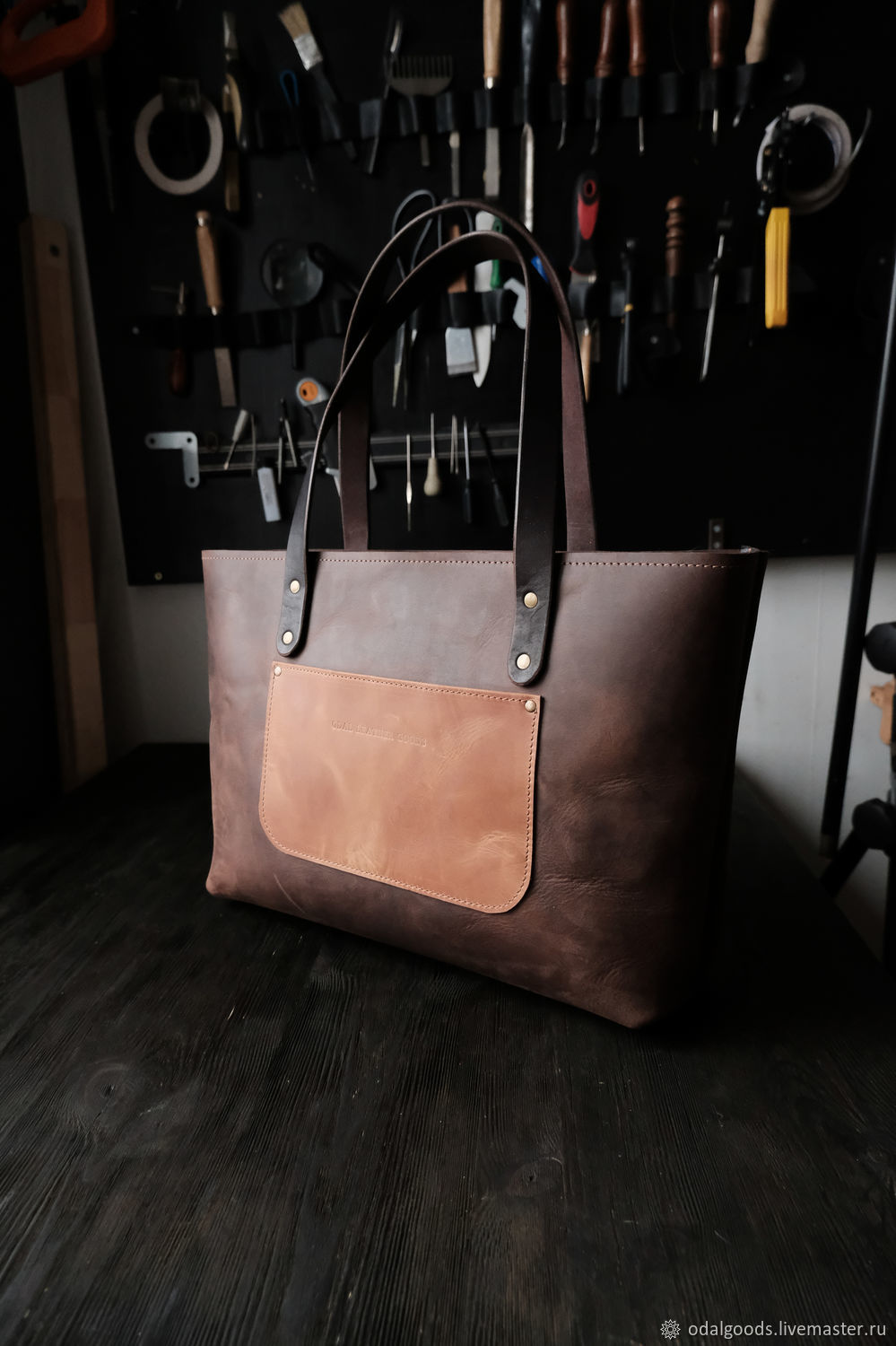 Leather shopper bag with zipper, brown Italian leather, Shopper, St. Petersburg,  Фото №1