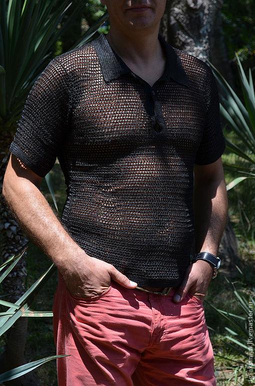 Для мужчин, ручной работы. Ярмарка Мастеров - ручная работа. Купить Рубашка мужская вязаная. Handmade. Черный, футболка на заказ