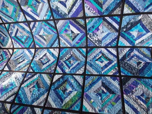 """Текстиль, ковры ручной работы. Ярмарка Мастеров - ручная работа. Купить Лоскутное двустороннее покрывало """"Морозная свежесть"""". Handmade. голубой"""
