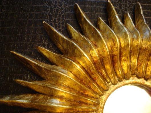 Зеркала ручной работы. Ярмарка Мастеров - ручная работа. Купить Солнце Золотое. Handmade. Золотой, интерьерное, поталь