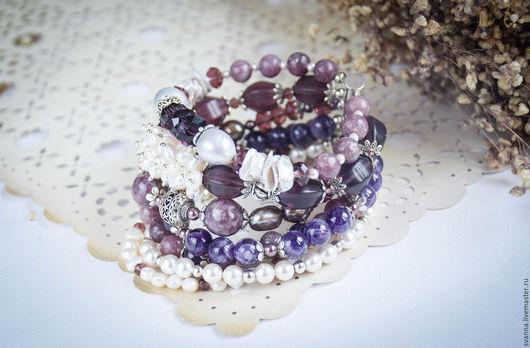 браслет и серьги, комплект украшений, украшения с жемчугом, браслет и сережки с камнями, браслет многорядный, купить комплект украшений, купить браслет и серьги из жемчуга