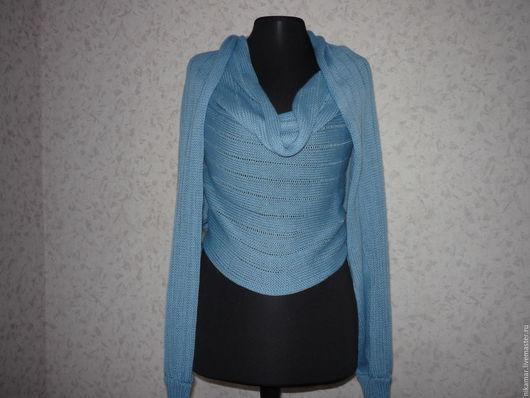 Кофты и свитера ручной работы. Ярмарка Мастеров - ручная работа. Купить Свитер-шарф трансформер Голубой. Handmade. Голубой
