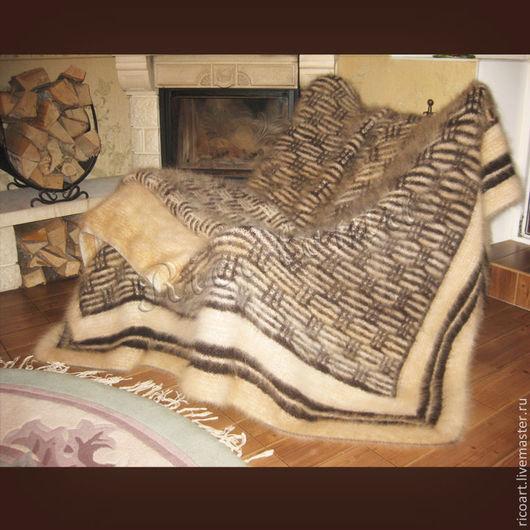 Текстиль, ковры ручной работы. Ярмарка Мастеров - ручная работа. Купить Плед из собачьей шерсти  Зимние вечера. Handmade. Бежевый