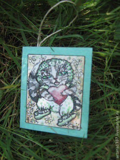 """Открытки на все случаи жизни ручной работы. Ярмарка Мастеров - ручная работа. Купить Авторская открытка """"Котёнок"""". Handmade. любовь, сердце"""