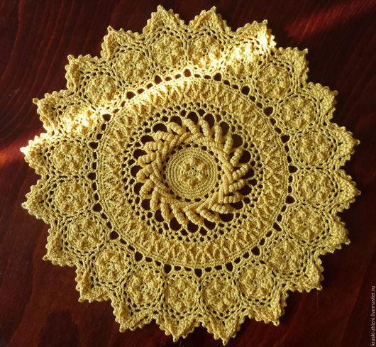 Текстиль, ковры ручной работы. Ярмарка Мастеров - ручная работа. Купить Салфетка крючком желтая. Handmade. Желтый, салфетка, melanie