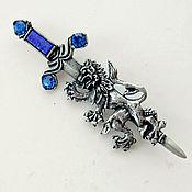 Винтаж handmade. Livemaster - original item Miracle!  A huge lion Brooch and the Sword! blue!. Handmade.