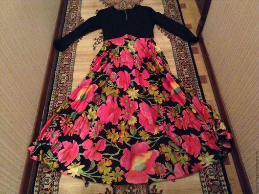 Одежда. Ярмарка Мастеров - ручная работа. Купить Красивое винтажные платье АЛЫЕ МАЛЬВЫ, США, 60-е, в идеале. Handmade.