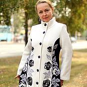 """Одежда ручной работы. Ярмарка Мастеров - ручная работа Трикотажное пальто """"Розы- белые и черные"""". Handmade."""