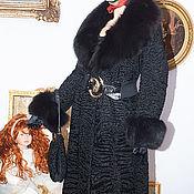 Одежда ручной работы. Ярмарка Мастеров - ручная работа Шуба африканская свакара с черной лисой, крой класика. Handmade.