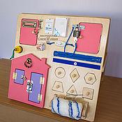 Бизиборды ручной работы. Ярмарка Мастеров - ручная работа Двухсторонний бизиборд компакт для девочки (50на50 см). Handmade.