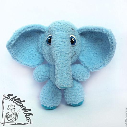 Игрушки животные, ручной работы. Ярмарка Мастеров - ручная работа. Купить вязаный слон. Handmade. Голубой, вязаный слон, ромашка