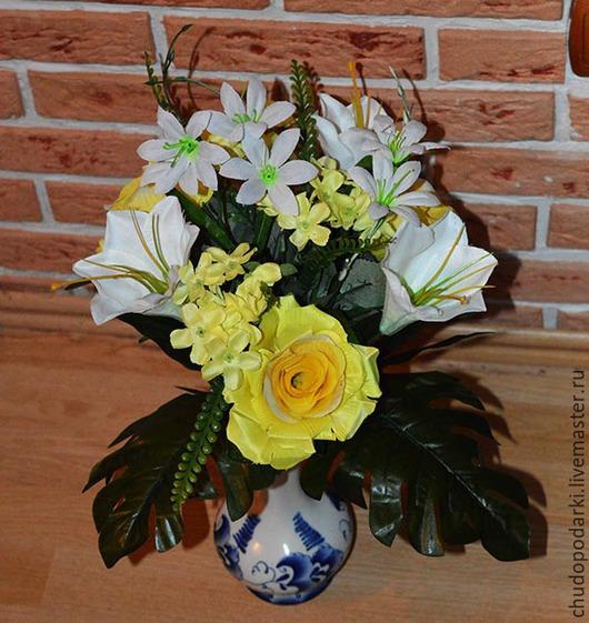 Букеты ручной работы. Ярмарка Мастеров - ручная работа. Купить Букет с розами, лилиями, флоксами и гортензией (ИЦ-4177). Handmade.