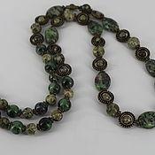 Украшения handmade. Livemaster - original item Long beads made of natural stones (zoisite, rhyolite). Handmade.