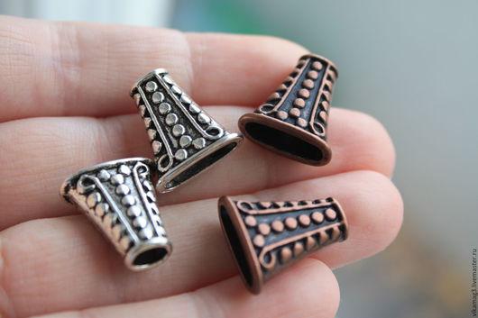 Для украшений ручной работы. Ярмарка Мастеров - ручная работа. Купить Концевик для пучка шнуров, цвет медь и серебро. Handmade.