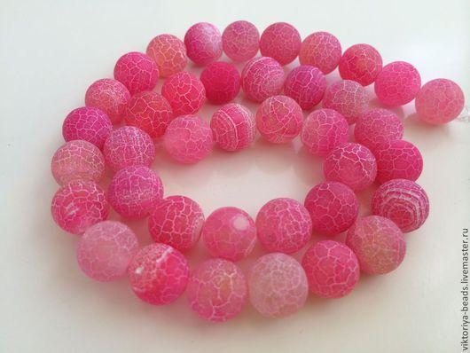 Для украшений ручной работы. Ярмарка Мастеров - ручная работа. Купить Агат кракле розовый бусины 10 мм. Handmade.