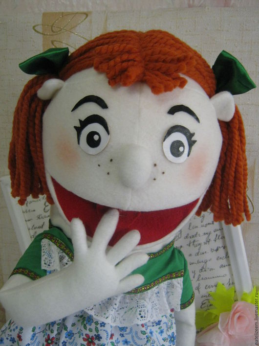 Кукольный театр ручной работы. Ярмарка Мастеров - ручная работа. Купить кукла на руку.Маппет девочка. Handmade. Белый, флис