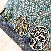 Сумки и аксессуары ручной работы. Ярмарка Мастеров - ручная работа Небесный путь земного слона) сумка текстиль нат кожа голубой купить. Handmade.