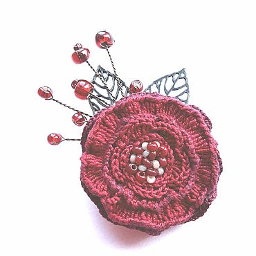 Decorations handmade. Livemaster - original item brooches: Red flower. Handmade.