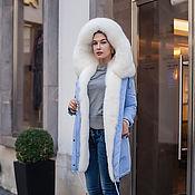 Одежда handmade. Livemaster - original item Blue parka with natural albino Fox fur. Handmade.