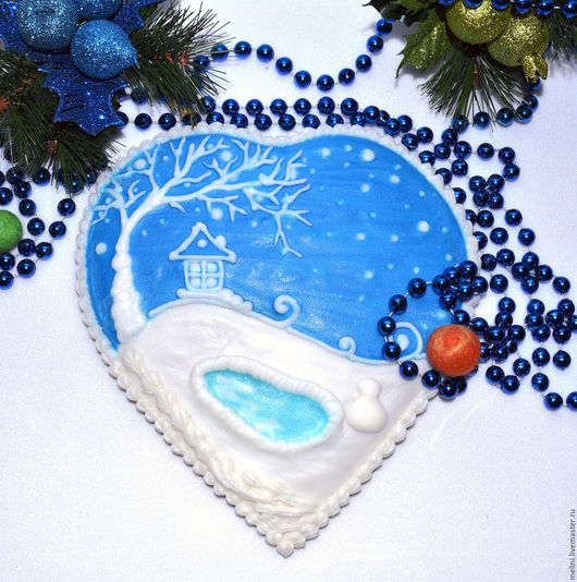 Пряник имбирный расписной `Голубая сказка` сердце большое