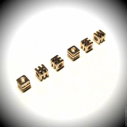Для украшений ручной работы. Ярмарка Мастеров - ручная работа. Купить Бусина тройная 3:3 мм. Handmade. Золотой