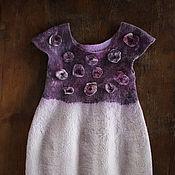 Работы для детей, handmade. Livemaster - original item Children white-purple felt dress