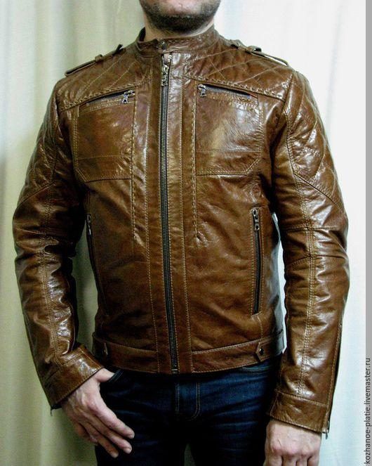 Верхняя одежда ручной работы. Ярмарка Мастеров - ручная работа. Купить Мужская кожаная куртка. Handmade. Коричневый, куртка