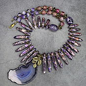 Украшения handmade. Livemaster - original item Elegant necklace natural stones: amethyst, variscite and agate. Handmade.