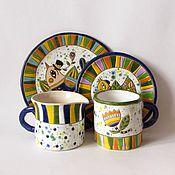 """Посуда ручной работы. Ярмарка Мастеров - ручная работа Керамический набор  """" Птицы в цветах"""". Handmade."""