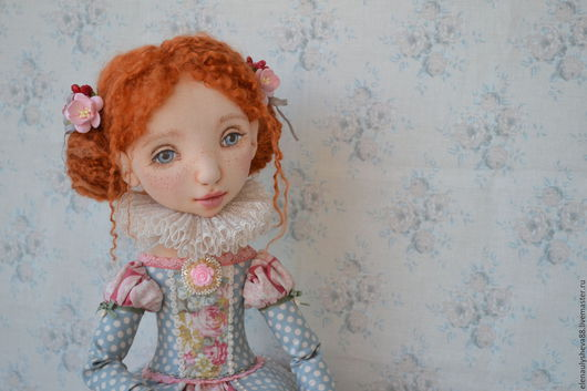 Коллекционные куклы ручной работы. Ярмарка Мастеров - ручная работа. Купить Шарлотта авторская текстильная кукла. Handmade. Голубой