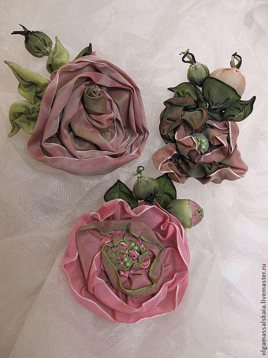 """Броши ручной работы. Ярмарка Мастеров - ручная работа. Купить Броши трансформеры-""""Роза"""" - Розы из лент. Изысканное украшение. Handmade."""