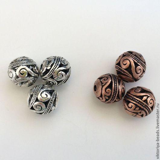 Для украшений ручной работы. Ярмарка Мастеров - ручная работа. Купить Бусины металлические 10 мм орнамент. Handmade.